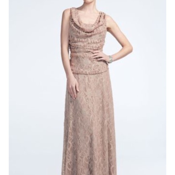 a46585fded8 David s Bridal Taupe Cowl Neck Lace Glitter Dress